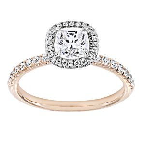 TWO by London Cushion Diamond Halo Chiquito Pave Engagement Ring