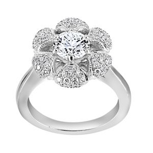 TWO by London Round Diamond Pave Flower Petal Engagement Ring