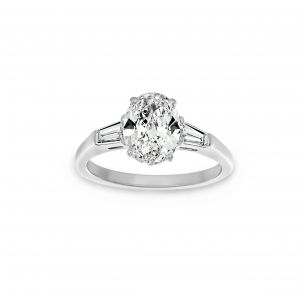 Norman Silverman Three Stone Oval And Tapered Baguette Diamond Engagement Ring