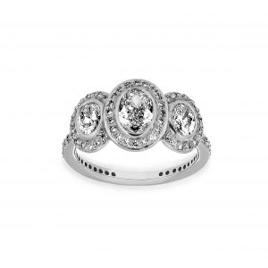 Ritani Three Stone Oval Halo Engagement Ring