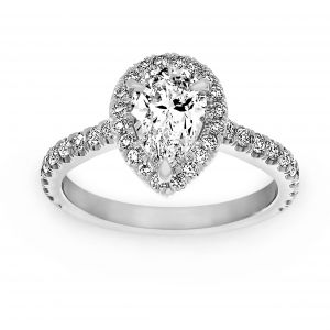 TWO by London Pear Shaped Diamond Halo Engagement Ring