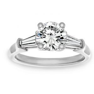 TWO by London Three Stone Round Diamond And Baguette Engagement Ring