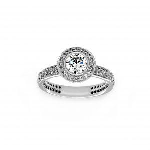 Ritani Round Diamond Halo Two Row Engagement Ring