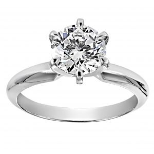 TWO by London Round Solitaire Six Prong Ring