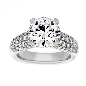 TWO by London Five Row Pave Diamond Solitaire Engagement Ring
