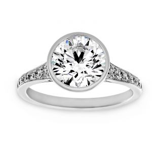 TWO by London Round Diamond Bezel Pave Diamond Engagement Ring