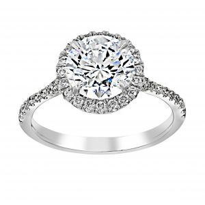 Henri Daussi Pave Diamond Halo And Shank Engagement Ring