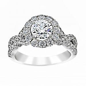 Henri Daussi Round Diamond Crossover Shank Engagement Ring