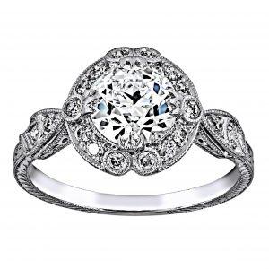 Single Stone Celeste Round Diamond Halo Engagement Ring