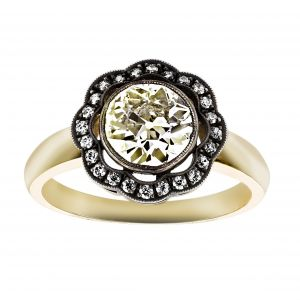 Single Stone Charley Round Diamond Flower Halo Engagement Ring