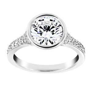 TWO by London Round Diamond Tapered Pave Engagement Ring
