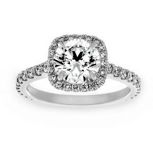 TWO by London Round Diamond Cushion Halo Diamond Engagement Ring