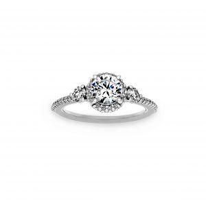 Ritani Three-Stone Halo Diamond Band Engagement Ring