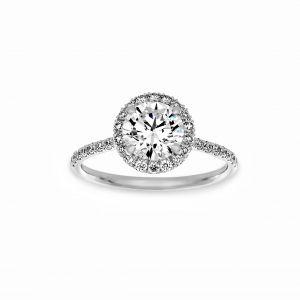 Norman Silverman Round Diamond Micro-Pave Halo Engagement Ring