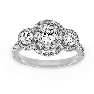 TWO by London Three Stone Round Diamond Double Diamond Halo Engagement Ring