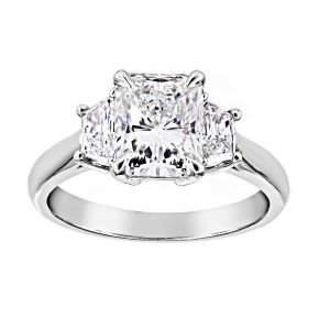 TWO by London Three Stone Radiant Diamond Engagement Ring