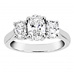 TWO By London Three Stone Oval Cut Diamond Engagement Ring