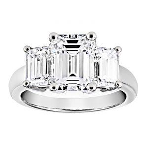 TWO by London Three Stone Emerald Cut Diamond Engagement Ring