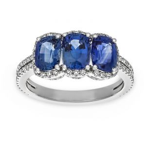 TWO by London Three Stone Cushion Sapphire Diamond Halo Ring