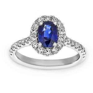 TWO by London Oval Blue Sapphire Diamond Halo Engagement Ring