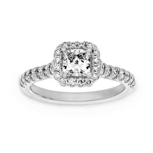 Martin Flyer Diamond Halo And Shank Engagement Ring