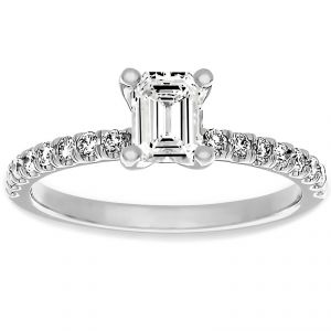 Martin Flyer gold Emerald Cut And Pave Diamond Engagement Ring