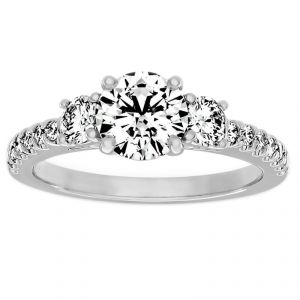 TWO by London Three Stone Pave Diamond Engagement Ring