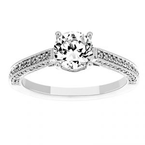 Martin Flyer Three Sided Antique Pave Milgrain Engagement Ring