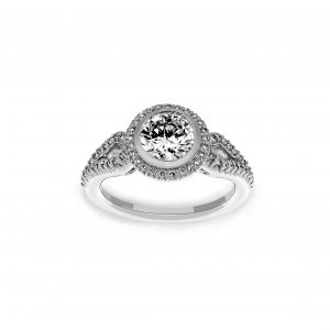 Ritani Round Diamond Halo Split Shank Engagement Ring