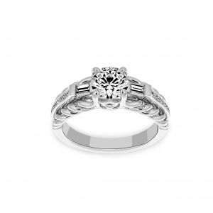Ritani Round Channel Set Three Stone Diamond Baguette Engagement Ring