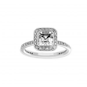 Ritani Asscher Cut Diamond Halo Micro-Pave Engagement Ring