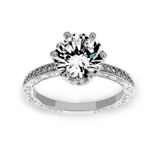Penny Preville Liat Scroll Diamond Engagement Ring With Milgrain Edge