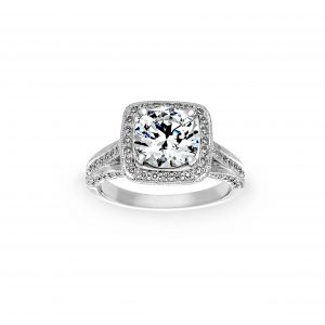 Ritani Cushion Halo Milgrain Diamond Engagement Ring