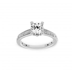 Ritani Round Diamond Grecian Leaf Milgrain Engagement Ring