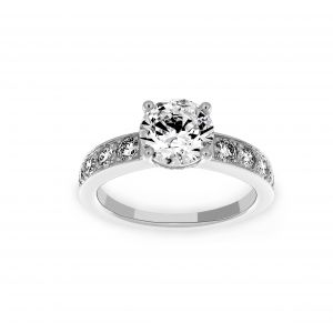 Ritani Round Solitaire Micro-Pave Diamond Channel Set Tapered Engagement Ring