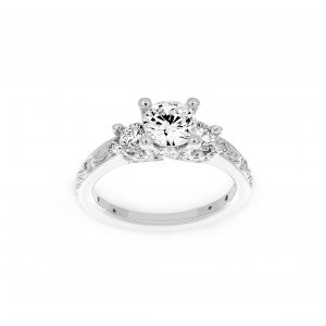 Ritani Round Three Stone Leaf Engraved Diamond Engagement Ring