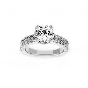 Ritani Double Row Micro-Pave Diamond Round Engagement Ring