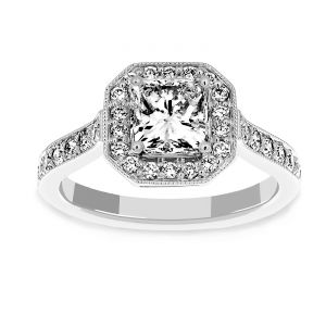 Martin Flyer Pave Diamond Antique Engagement Ring
