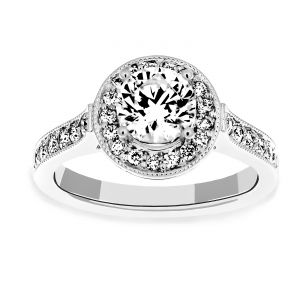 Martin Flyer Round Diamond Halo Antique Engagement Ring