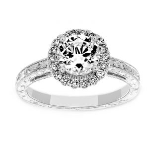 Martin Flyer Diamond Halo Engraved Engagement Ring