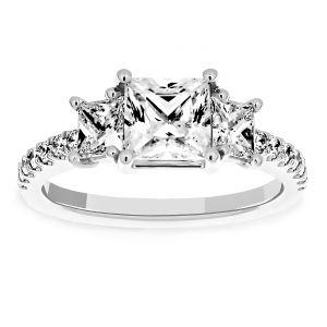 Martin Flyer Three Stone Princess Cut Diamond Engagement Ring