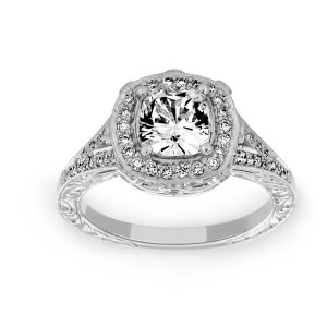 Penny Preville Victoria Cushion Cut Diamond Halo Engagement Ring