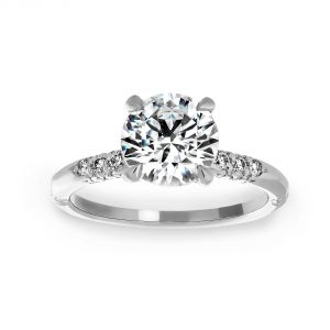 Michael B. Crown Lace Round Diamond Engagement Ring