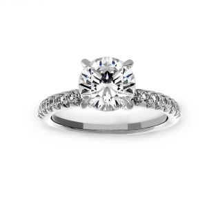 Michael B. Pave Diamond Solitaire Engagement Ring