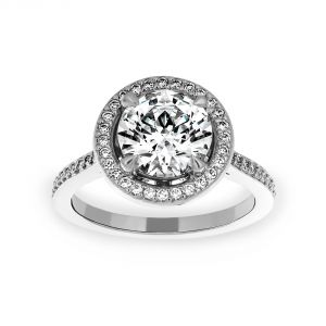 Michael B. Round Micro-Pave Diamond Halo Engagement Ring