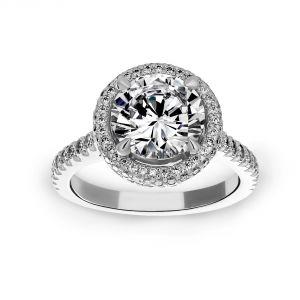 Michael B. Quintessa Round Micro-Pave Diamond Halo Engagement Ring