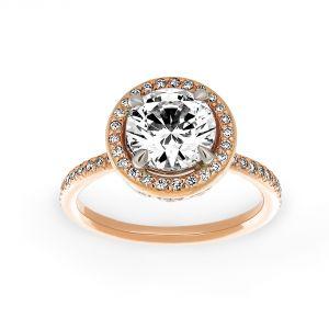 Michael B. Quintessa Micro-Pave Diamond Round Halo Engagement Ring