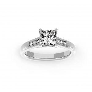 Ritani Three Diamond Channel Set Princess Cut Enagagement Ring