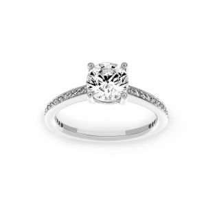 Ritani Channel Set Micro-Pave Diamond Round Engagement Ring