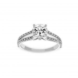 Ritani Round Diamond Micro-Pave Split Shank Engagement Ring